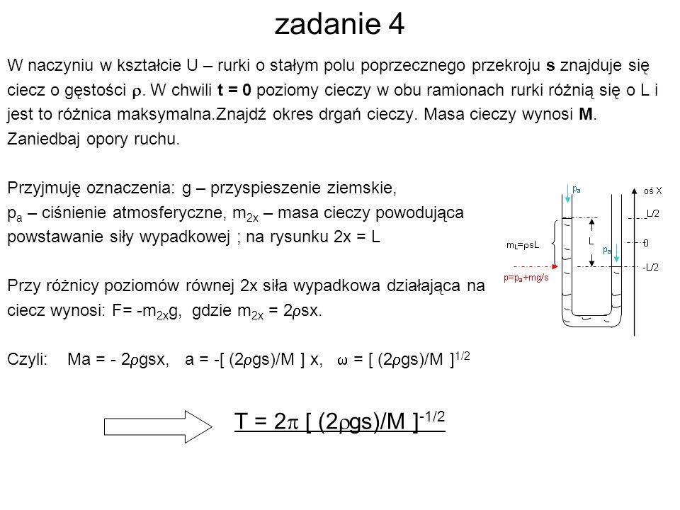 zadanie 4 T = 2p [ (2rgs)/M ]-1/2